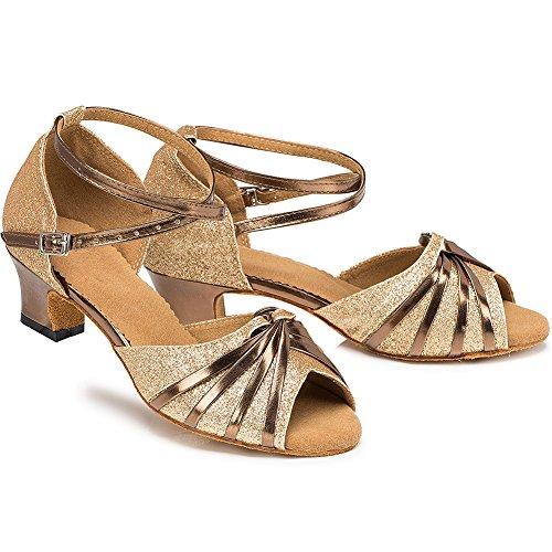 Meijunter Frauen Erwachsene lateinisch Tanzschuhe Square Dance Soft Ballroom Anti-Rutsch Dancing Shoes Gold 6cm