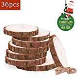 "36 Pcs 2.4""-2.8"" Wood Slice Ornaments Unfinished Wood Slices Wood Ornament for Christmas Decorations Clearance and Christmas Ornaments"