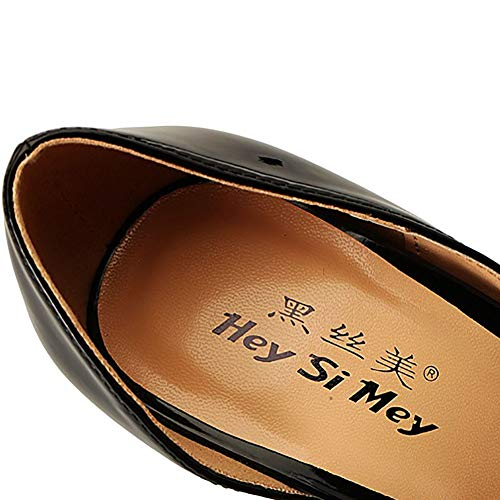 Pelle Temperamento Moda Black Punta Superficiale Bocca Donna A Scarpe In Stiletto Singole OPnw80q8ET