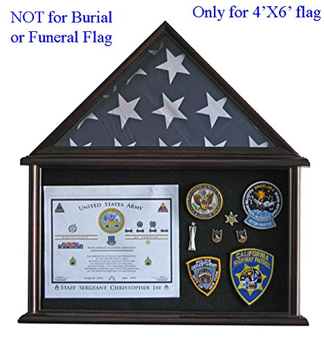 Military Shadow Box Flag Display Case Stand for 4' X 6' Flag Exclusive (Mahogany (Mahogany Flag Display Case)