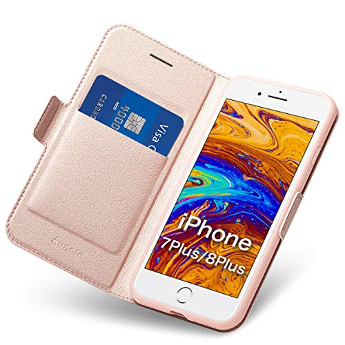 iPhone 7/8 Plus Flip Case with Card Holder, Magnetic Closure, Kickstand - Ultra Slim Leather Wallet/ Folio Notebook, (Hard PU+Soft TPU) Full Cover-Complete Protection for Apple 5.5
