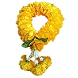 Thai Artificial Yellow Marigold Garland, Marigold flowers, Flowers Artificial, Flowers Fake (length 14 inches)