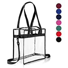 """Clear Cross-Body Messenger Shoulder Zippered Bag w Adjustable Strap, NFL & PGA Stadium Security Approved Travel & Gym Clear Tote Bag-12"""" X 12"""" X 6"""" (One Bag)"""