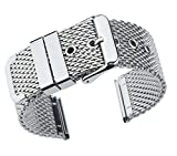 22mm Superior Silver Replacement Mesh Bracelet Watch Band Solid Stainless Steel Chain Watch Strap