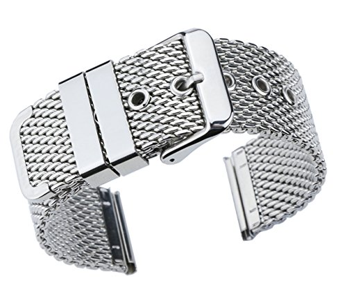 22mm Superior Silver Replacement Mesh Bracelet Watch Band Solid Stainless Steel Chain Watch (Esq Stainless Steel Bracelet)