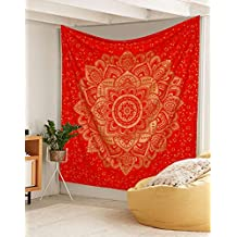 """Exclusive """" Orignal Red Gold Ombre Tapestry by Labhanh"""" , Mandala Tapestry, Queen Indian Mandala Wall Art Hippie Wall Hanging Bohemian Bedspread ,"""