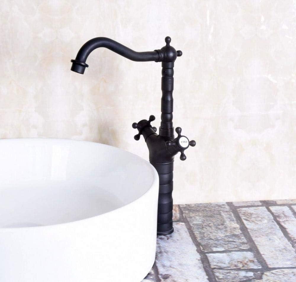 Hermanhao Doble manija aspersor giratorio de bronce engrasado negro barra de la cocina fregadero del baño grifo del lavabo grifo mixto caliente y frío anf147