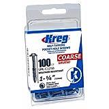 Kreg SML-C125B-100 1 1/4-Inch Blue-Kote WR Pocket Screws, 100 pack