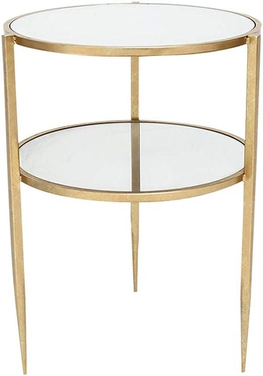 Home-table Mesa Redonda de Doble Capa, Mesa de Cristal Vidrio ...
