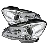 Mercedes Benz W204 CClass Projector Headlights Halogen Model Only ( Not Compatible With Xenon/HID Model ) DRL Chrome Housing With Clear Lens