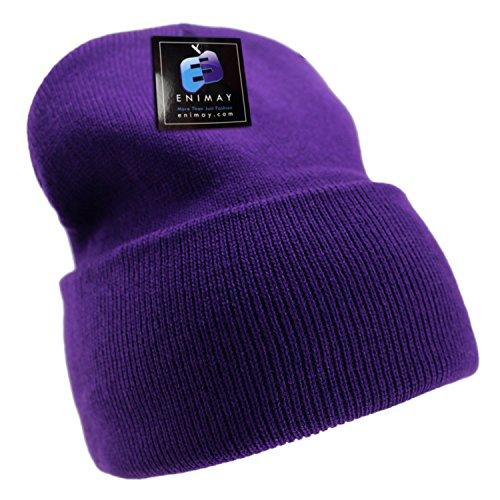 Enimay Men's Women's Winter Long Beanie Hat Knit Cap - Purple Long Beanie