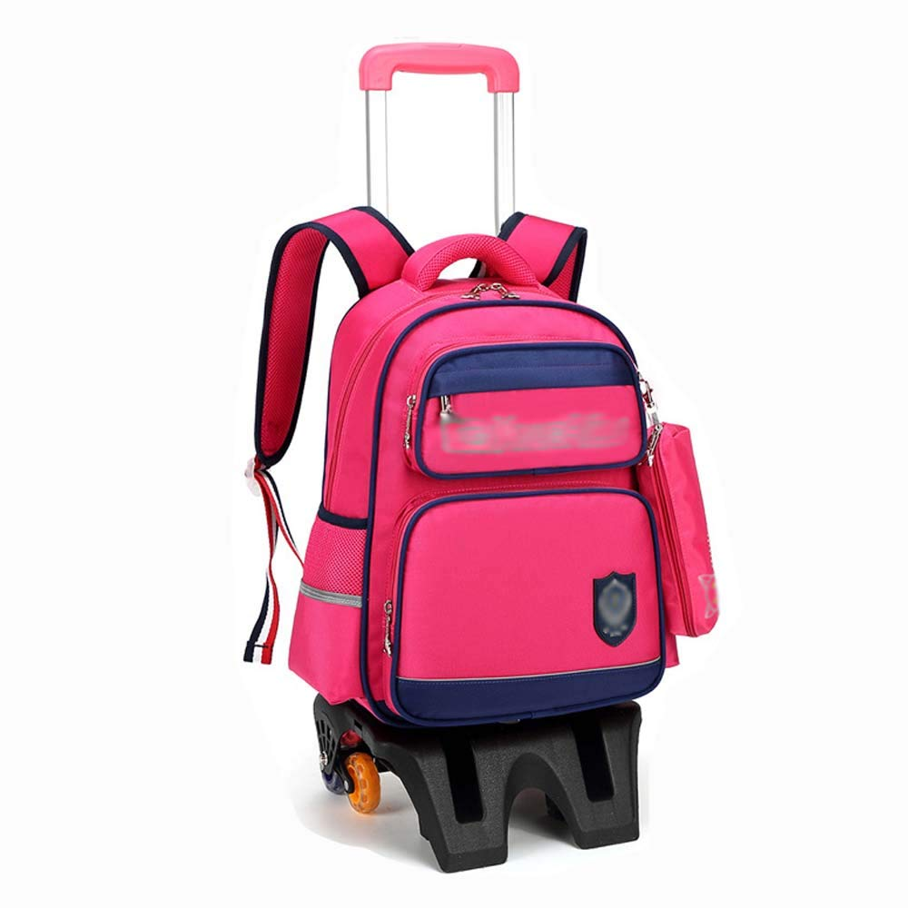 HUIFA 子供用トロリーバッグバックパックハイ6ラウンドワイドフォールド折り畳み式ベース6-12歳男性と女性トロリーバックパック 。 (色 : Pink B) B07MZ6THQC Pink B
