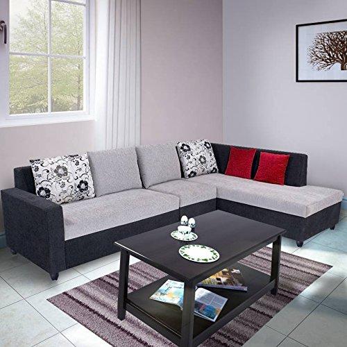 Bharat Lifestyle Nano L Shape Fabric Sofa Set, Black Grey  2+1+D