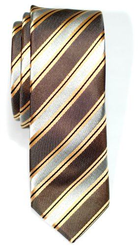 Brown Micro Stripe (Retreez Preppy Stripe Pattern Woven Microfiber Skinny Tie Necktie - Brown and Grey)