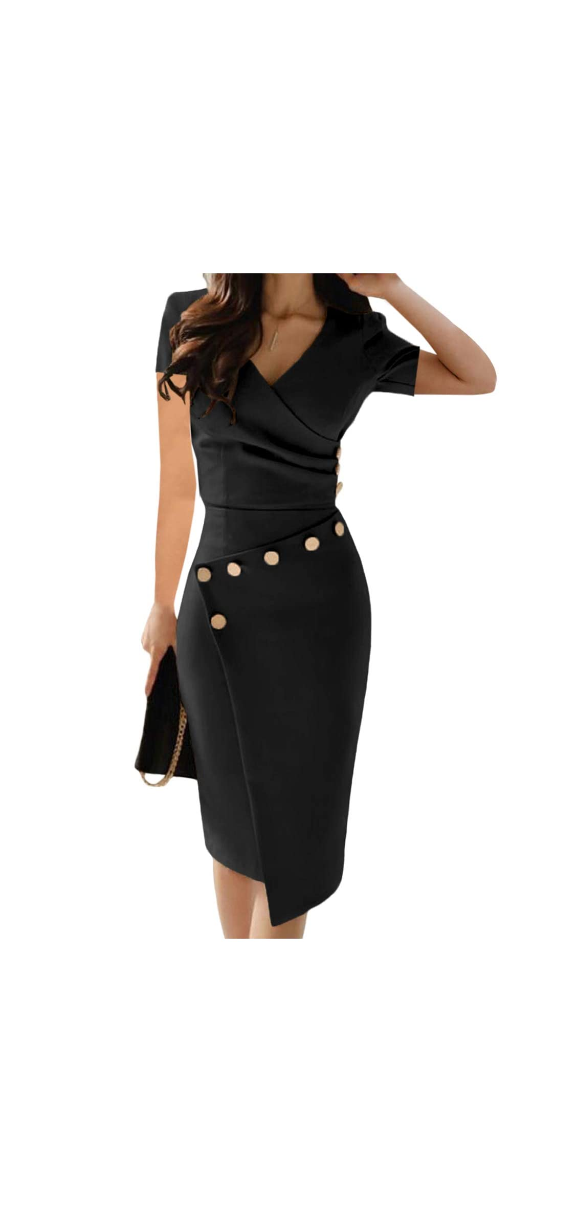 Women's Deep V Neck Casual Work Bodycon Cocktail Party