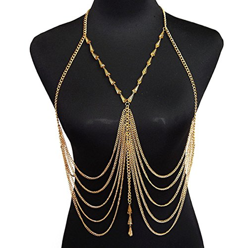 HITOP Women Retro Sexy Fashion Summer Beach inverted crystal tassel belly chain Bikini Body Chain