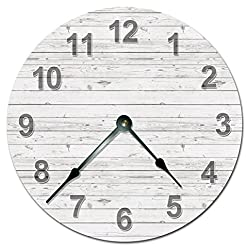 WHITE WOOD BOARDS CLOCK Extra Large 15.5 to 16 Wall Clock - PRINTED WOOD IMAGE - Home Decor