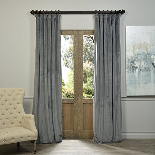 Natural Lined Curtains - HPD HALF PRICE DRAPES Half Price Drapes VPCH-184005-84 Signature Blackout Velvet Curtain, Natural Grey, 50 X 84