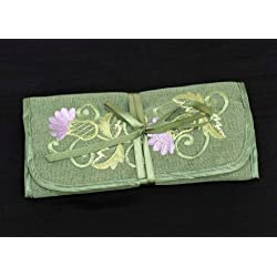 Jewelry Roll in a Green Balmoral Thistle Design