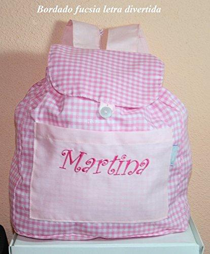 PRIMERAEDAD/Bolsa mochila guarderia de tela cuadros vichy personalizada(26 x 32 x 11 cm) / COLOR ROSA-BLANCO).: Amazon.es: Bebé