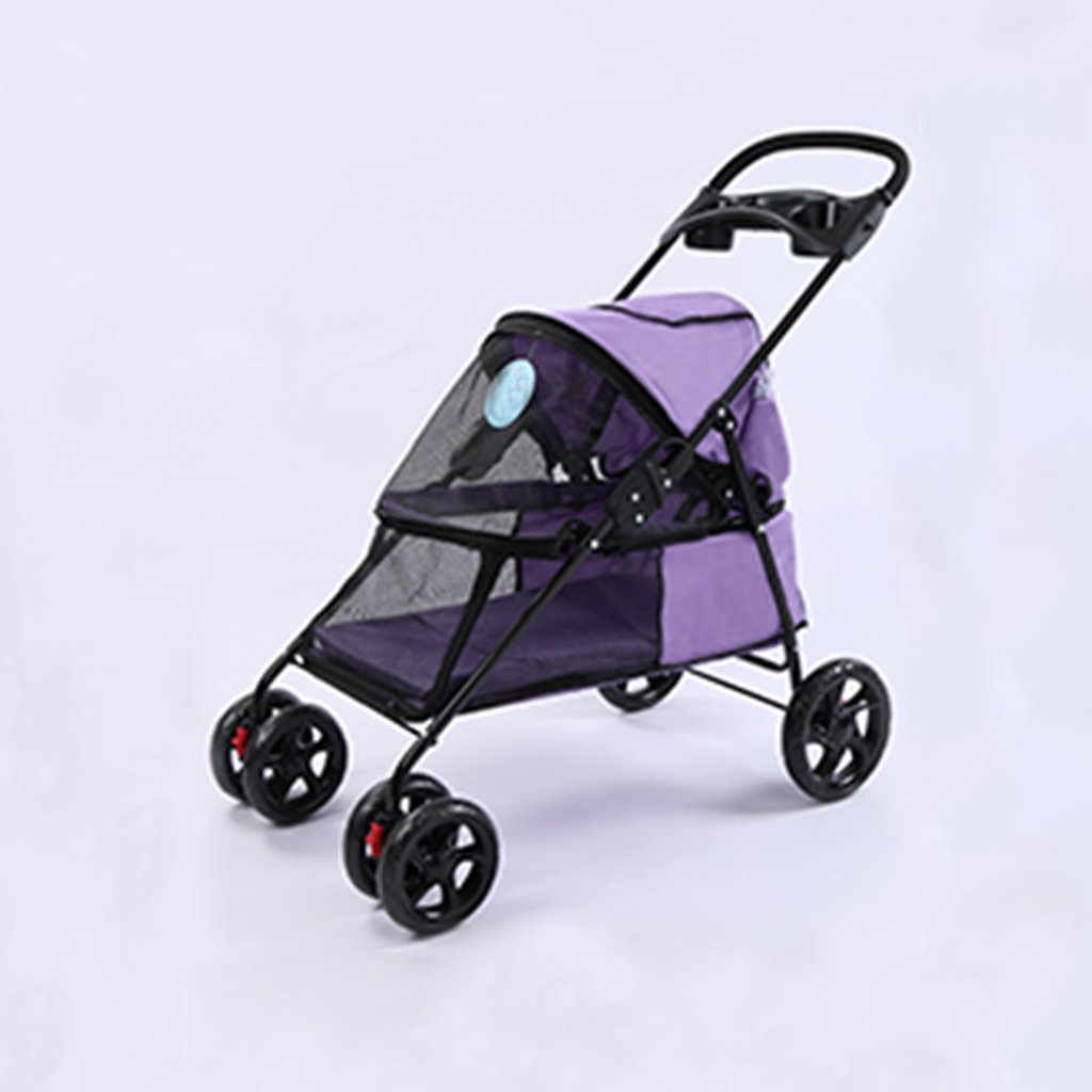 Purple Four Wheel Pet Stroller For Cats Dogs Carriage Cart With Congreenible Compartment Walk For Jogger Jogging Travel. Cacoffay