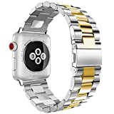 iiteeology Compatible Apple Watch Band, 38mm 40mm Stainless Steel iWatch Band Link Bracelet with Adapters for Apple Watch Series 4 Series 3 Series 2 Series 1 - Silver/Gold