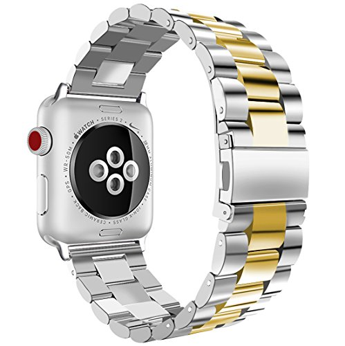 (iiteeology Compatible with Apple Watch Band, 38mm 40mm Stainless Steel iWatch Band Link Bracelet with Adapters for Apple Watch Series 4 Series 3 Series 2 Series 1 - Silver/Gold)