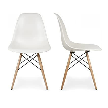 Belleze Set (2) Classic DSW Molded Plastic Side Chair Dining Chairs Seat  Backrest W