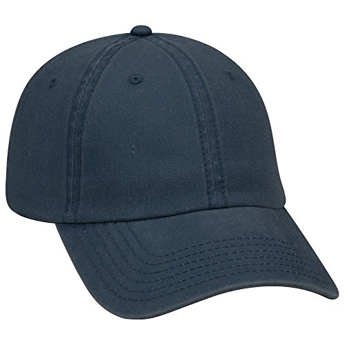 nt Washed Pigment Dyed Cotton Twill 6 Panel Low Profile Dad Hat - Navy (Garment Washed Pigment Dyed Twill)