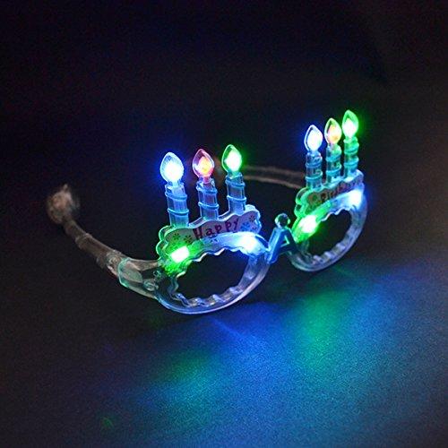 Mammoth Sales LED Flashing Light Up Happy Birthday Cake Party Glasses Shades (Multi - Birthday Happy Sunglasses