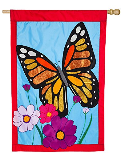 Evergreen N Heart Butterfly Buter Banks Outdoor Safe Double-Sided Applique House Flag, 28 x 44 (Evergreen Butterfly House)