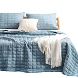Kasentex Quilt-Bedding-Coverlet-Blanket-Set, Machine Washable, Ultra Soft, Lightweight, Stone-Washed, Detailed Stitching - Hypoallergenic - Solid Color, Full/Queen + 2 Shams, Grey Blue