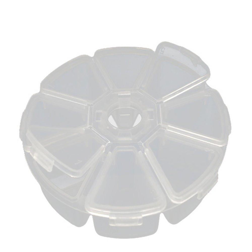 URIJK Rund 8 Fächer Plastik Aufbewahrungsbox Plastik Schmuckschatulle Schmuckkästchen Aufbewahrungsbox Leerdose Leere Perlendosen Sortierdosen Sortierbox