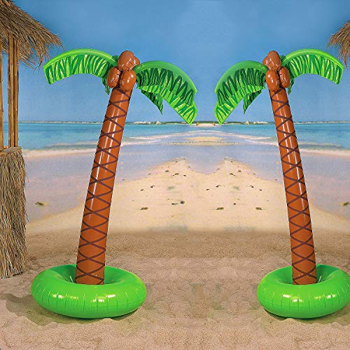 4E's Novelty Pack of 2 Large Palm Tree Vinyl Inflates, 5ft Inflatable Trees Great Decoration for Pool and Beach Parties -
