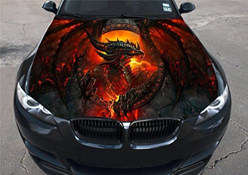 Full Color Dragon Fire Sticker, Car Hood Vinyl Sticker, Car Vinyl Graphics Decal, Wrap, Car Hood Graphics, fit Any Vehicles MH82