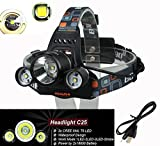 5000LM CREE XM L 3XT6 LED Headlight Headlamp Rechargeable Light Torch Flashlight