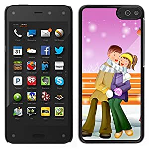 // PHONE CASE GIFT // Duro Estuche protector PC Cáscara Plástico Carcasa Funda Hard Protective Case for Amazon Fire Phone / Couple Warm Winter Love Romance Art Park /