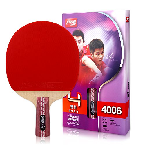 DHS Ping Pong Table Tennis Racket Paddle Bat 4 Star Penhold Short Handle Double Pimples-in Bat 4006 with Landson Support