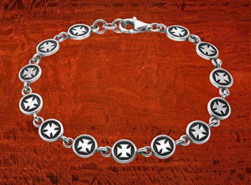 Wild Things Sterling Silver Pattee Cross Button Link 8.5'' Bracelet by Wild Things (Image #3)