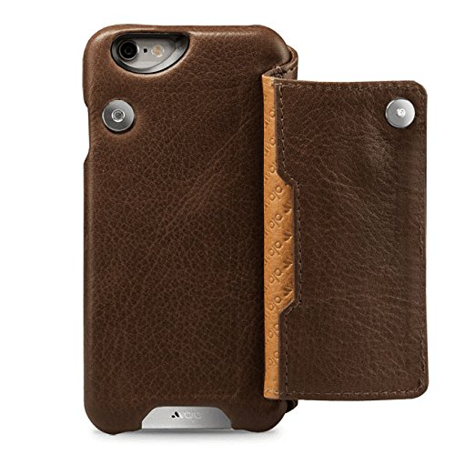 Vaja Niko Wallet Slim and Smart Leather Case for iPhone 6 Plus/6s Plus - Magnetic Closure - 1 Multi Card Slot - Bridge Tabaco & London by Vaja