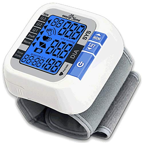 (Easy@Home Digital Wrist Blood Pressure Monitor (BP Monitor) with Pulse Meter and Backlit Large Display, EBP-017)