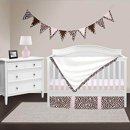 (Pam Grace Creations Four Piece Crib Set, Simply Zebra/Brown/Pink, 8 Count)