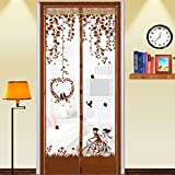 Magnetic Fly Screen Door Full Frame Close Automaticlly Mesh Curtain with Lace Anti Insect Mosquito Encrypt Screen Protector Let Fresh Air In Insect Screen Door Cover Hand Free Fly Curtain for Doorway