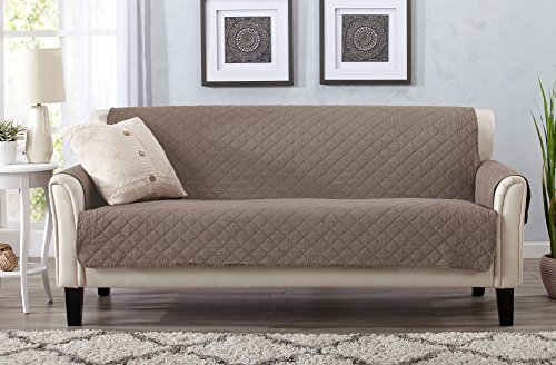Great Bay Home Deluxe Stonewashed Stain Resistant Furniture Protector in Solid Colors. Laurina Collection By Brand. (Sofa, (Microfiber Sofa Collection)