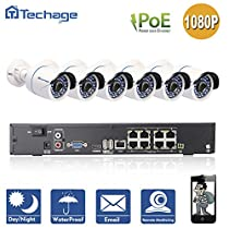 Techage 8CH 1080P POE NVR CCTV System Indoor Outdoor Waterproof Home Security Surveillance Kit With 6PCS IP Camera, Without Hard Drive
