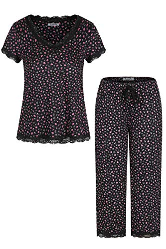 SofiePJ Women's Rayon Printed Lace Trim Top with Capri Pants Pajama Set Black Pink L(533188)