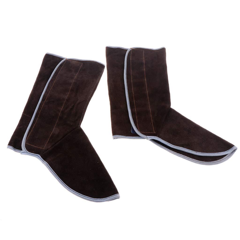 Baosity Heavy Duty Leather Welding Coat Work Apron XXL+ 1Pair Welding Foot Covers - Heat Resistant & Flame Resistant BBQ Apron, Adjustable, Brown by Baosity (Image #6)