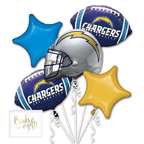 Andaz Press Balloon Bouquet Party Kit with Gold Cards & Gifts Sign, La Chargers Football Themed Foil Mylar Balloon Decorations, 1-Set]()