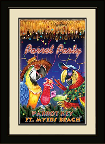 Northwest Art Mall JM-6728 FGDM PP Parrot Key Fort Myers Bch Florida Party Framed Wall Art by Artist Jim Mazzotta, 16