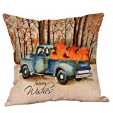 Halloween Decorations Pillows Case Pumpkin on Truck Pillowcases Thanksgiving Cushion Cover with Zipper 18 x 18 inch (11)